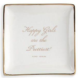 NWT Jewelry Tray - White Ceramic w/Gold Trim, 5x5